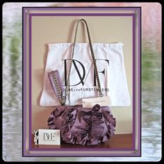 """HPDiane von Furstenberg Lt Purple Ruffle bag Belle ruffle Amethyst nylon shoulder & Wristlet. Removable shoulder strap. Gunmetal hardware & lambskin leather trim. Zip top closure & signature jacquard lined interior. Signature engraved studs & clips. Signature embossed leather label on back wall & authenticity tag with hologram & style tag on inside of bag. Comes with signature dust cover, tag & signature care card in envelope. True color of piece is best seen in 2nd photo. 10""""W x 5""""H x 3""""D…"""