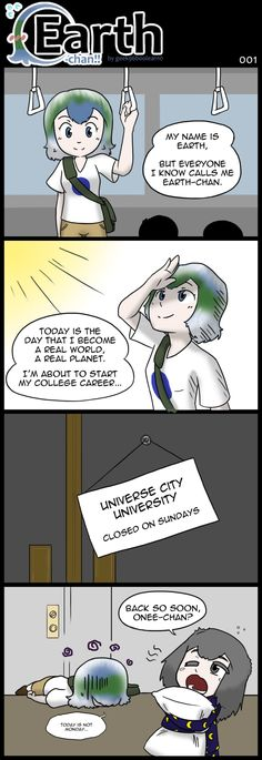 Yes, I believe this is the first real continuing comic for lil' ol' Earth-chan. Funny Images, Best Funny Pictures, Funny Cute, Hilarious, Earth Memes, Anime Version, Popular Anime, Literature Club, Anime Eyes
