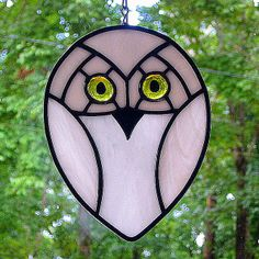 Stained glass owl | Snowy Owl with Yellow Glass Glob Eyes Stained Glass Suncatcher ...