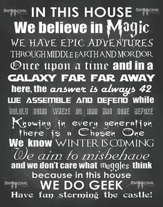 """Geeks at heart will love these """"In This House We Do Geek"""" signs and wall decals featuring a mixture of geekyone-liners from popular books, movies and TV showsincludingDisney, Harry Potter, Star Wars, The Hitchhiker's Guide To The Galaxy, Star Trek and Lord of the Rings, just to name a few.... Continue reading"""