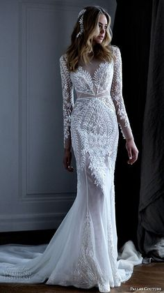 """PALLAS COUTURE #BRIDAL 2016 collection #wedding dresses lace long sleeves filigree embroidered lace illusion v neck gorgeous beautiful sheath gown with train """"Acrene"""" #pallas"""