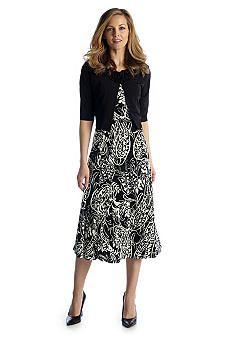 Jessica Howard Paisley Print Belted Ruffle Neck Jacket Dress