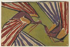 """Desenho para tapete """"Peacocks"""" / Roger Fry"""
