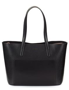 Coccinelle BETTY Black saffiano leather large tote bag with front external pouch | Fratelli Karida Shoes