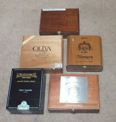 Cigar Box Lot 5 Wood DIRT TORPEDO Macanudo BUTERA Oliva HEMINGWAY BOXES CRAFTS