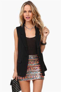 Rebel Tuxedo Vest and sequin skirt