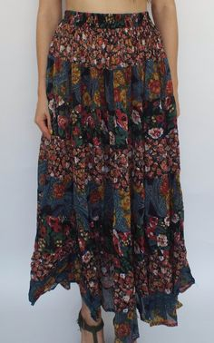 Vintage 90s Flowy Patchwork Floral Print Maxi Skirt  http://totalrecallvintage.com/patchwork_boho_maxi_skirt.html