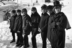 The Beatles with stunt doubles hired to handle the trickier, more dangerous parts of their 'Ticket To Ride' ski video. Can you pick out the real life Fab Four from their counterparts?
