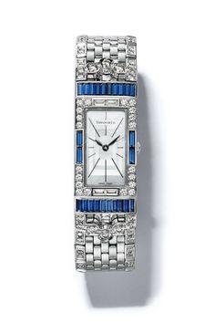 Tiffany Art Deco Design, Sapphires, Diamonds and Platinum. elle.com
