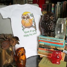 Find this Owl onesie and 50 other designs here: https://www.radcakes.com/collections/onesies #owl #onesie #owls #artglass #babyclothes #goldenbooks