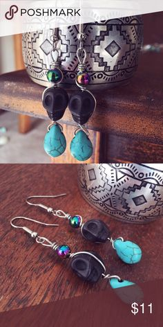 Handmade Skull Wire Wrapped Dangle Earrings Funky, hippie, boho and Day of the Dead inspired! Handmade by me! Never worn! Jewelry Earrings