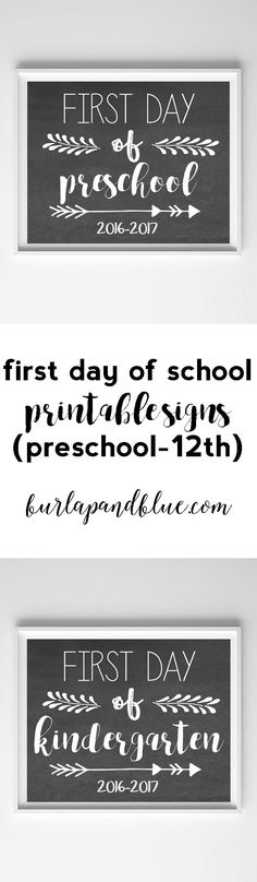 Post edited to include the version! first day of school printable chalkboard signs-preschool through grade available. Printable first day of school signs are the perfect way to commemorate the new school year! First Day School, Beginning Of School, Pre School, First Day Of School Quotes, Starting School, School Boy, School Chalkboard, Chalkboard Signs, Chalkboards