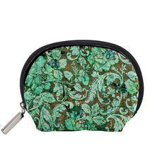 Beautiful+Floral+Pattern+In+Green+Accessory+Pouches+(Small)++Accessory+Pouch+(Small)
