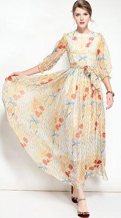 Elegant O-Neck Long Sleeve Floral Print Maxi Dress