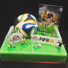 FIFA 16 themed cake with a 3D soccer ball cake on top. #allsortscakessydney