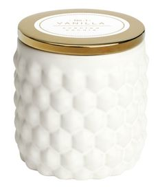 Scented candle in ceramic holder with a textured finish and metallic-finish lid   H&M US