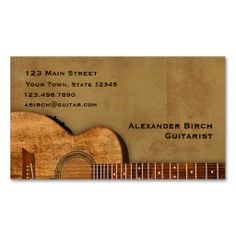 Rustic Guitar Business Card Template. This is a fully customizable business card and available on several paper types for your needs. You can upload your own image or use the image as is. Just click this template to get started!