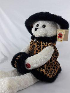 "NWT Chantilly Lane Leopard  Sasha Singing Bear Plush Winter Wonderland Music 22"" #ChantillyLane #Christmas"