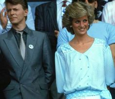 """Princess Diana and David Bowie, 20th of June 1987,after attending a concert from his """"Glass Spider"""" tour at Wembley Stadium."""