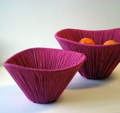 gorgeous treat bowls, made using old lampshade frames and leftover yarn