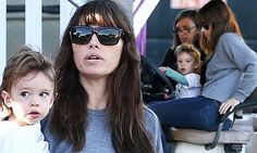 Jessica Biel takes son Silas for a spin in golf cart on The Sinner set