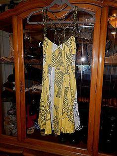 Anthropologie Free People Cotton Corset Fish Print Dress Short Cute Size 0 XS