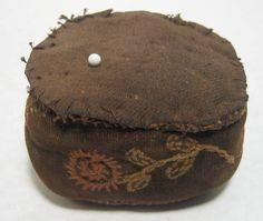 antique Victorian Handmade Needlework PIN CUSHION with 4 Tiny Feet