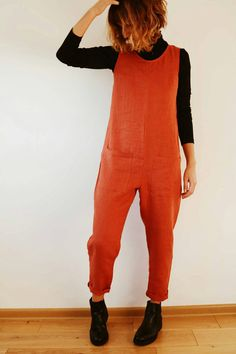 Linen Jumpsuit Jumpsuit Burnt Orange Linen Jumpsuit