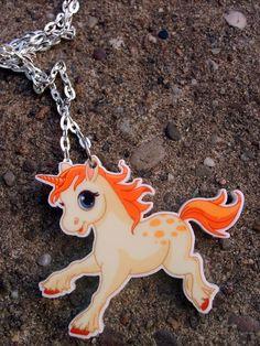 Unicorn Acrylic Pendant on silver plated chain