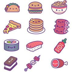 Kawaii Food Party Ios Stickers Soft - Animated Super Kawaii Animated Food Stickers For Imessage On Ios Burgers Pizza Pancakes Hot Sauce Tacos Sriracha Pocky Sushi And More Buy From The App Store Cute Food Drawings, Cute Little Drawings, Cute Kawaii Drawings, Cute Animal Drawings, Easy Drawings, Pencil Drawings, Stickers Kawaii, Food Stickers, Cute Stickers