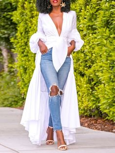 V-Neck Plain Asymmetric Long Womens Blouse online shopping mall, buying fashion dresses & rapid delivery. Start your amazing deals with big discounts! White V Necks, Fashion Gallery, Long Blouse, Blouse Styles, African Fashion, Blouses For Women, Fashion Dresses, Cute Outfits, Trendy Outfits