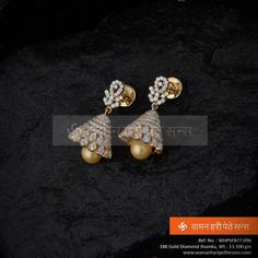 #Marvellous #gorgeous #beautiful #gold #diamond #jhumka from our collection. Diamond Jhumkas, Gold Jhumka Earrings, Pearl And Diamond Earrings, Jewelry Design Earrings, Gold Earrings Designs, Emerald Jewelry, Gold Jewellery Design, Gold Jewelry Simple, Ear Rings