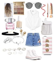"""""""I'm in loveeeeee"""" by rino-katteh ❤ liked on Polyvore featuring Paul & Joe Sister, Aéropostale, Converse, Ray-Ban, Stila, Versace, Disney, Bling Jewelry, fabulous and fashionable"""