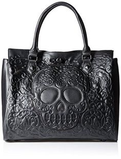 Loungefly Lattice Skull Tote Shoulder Bag, Black, One Size
