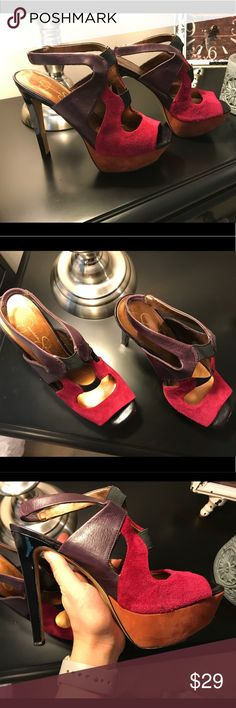 Jessica Simpson Heels These heels are a leather and velvet outer covering mix. I love these heels and fell in love with how colorful and playful they are but I can't wear them anymore 😥 they are super comfortable and easy to walk in Jessica Simpson Shoes Heels
