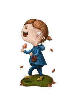 Illustratief ontwerp   lotteleyssens Digital illustration, autumn, girl, mushrooms Smurfs, Teddy Bear, Animals, Fictional Characters, Animales, Animaux, Teddy Bears, Animal, Animais