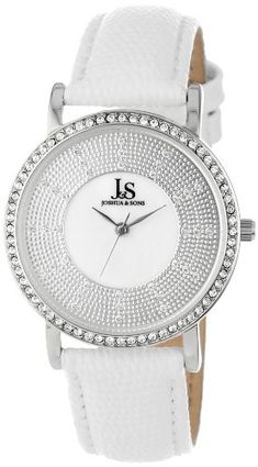 Joshua  Sons Womens JS42SS Swiss Quartz Stainless Steel Crystal Strap Watch ** Learn more by visiting the image link.