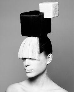 long black straight coloured weird avant garde sculptured whi Womens hairstyles for women