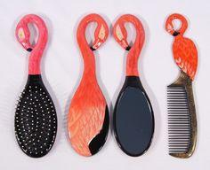 Hand Painted Art Hair Brush Mirror Comb Red Pink Flamingo Bird (Set of 3) 49F | eBay