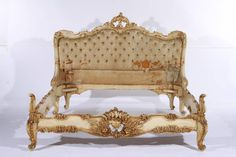 Louis XV style, painted and gilded French bed