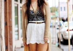 white lace skirt, floral bustier, tan sweater