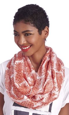 Super soft pineapple print coral infinity scarf