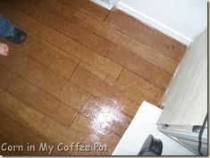 DIY Paper Bag Floor to look like Hardwood Floor! Nice clean lines instead of torn leather look