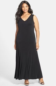 Calvin Klein V-Neck A-Line Jersey Maxi Dress (Plus Size) available at #Nordstrom