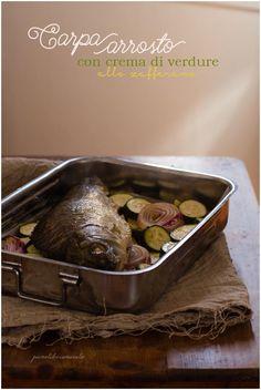 Pesce arrosto con verdure allo zafferano