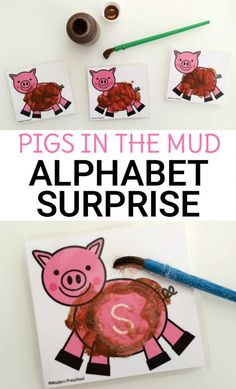 Surprise uppercase letters appear after toddlers, preschoolers, or kindergarteners clean the mud off of the pigs on these free alphabet printable cards! Farm Activities, Alphabet Activities, Animal Activities, Animal Themes, Farm Animals Preschool, Preschool Farm Theme, Prek Literacy, Pig Crafts, Room Crafts