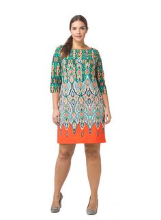 Printed Shift Dress With Orange Border by @elizajny, Available in sizes 14W-24W