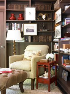 dark painted bookcases