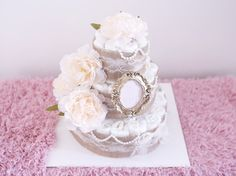 Hey, I found this really awesome Etsy listing at https://www.etsy.com/listing/247093973/shabby-chic-diaper-cake-for-baby-girl