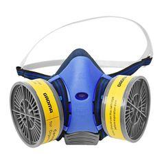 Behagelig halvmaske med midtstilt pusteventil, utbyttbare filter og justerbare festebånd. To A1-filter (filtrerer bort organisk damp) følger med.